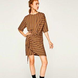 Zara front wrap striped brown dress w/ buckle